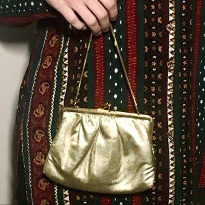 Handbags - Vintage Du-Val Gold Satiny Clutch Purse 👛